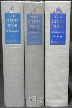 Foote, Shelby. The Civil War, A Narrative in 3 Vols. First Eds, Vol 1 Signed