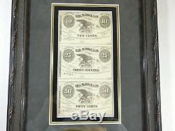 Framed Civil War Scrip Geo. W. Hallock Bath NY Uncut Sheet 10,25 & 50c Notes CU