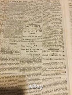 Gettysburg Civil War FRONT PAGE MAP 1863 New York Tribune Newspaper