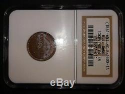 H J BANG Grapes Grapevine New York City Civil War Token NGC MS64 BN UNDERGRADED