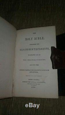 Holy Bible Pocket Antique Book 1850 American Bible Society NY Civil War Era RARE