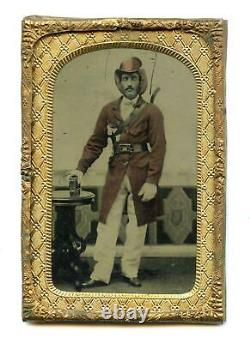 IDd Tintype Ellsworth's Avengers 11th NY Fire Zouave Beautiful Colored Civil War