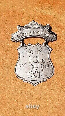 Investment Grade Civil War 5th Corps Ladder Badge, Co. F, 13th NY, Gettysburg