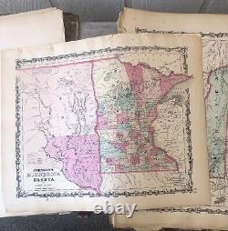 Johnson's New Illustrated Family Atlas 1862 Civil War Era This Book is Rough