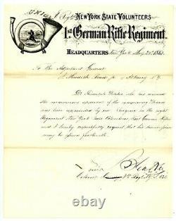LOUIS BLENKER, Union General 8th NY/Civil War-Date Letter Signed/Autograph 8291