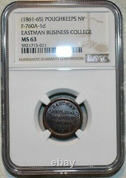 MS-63 Eastman College Copper-Nickel Civil War Token, Poughkeepsie, NY-760A-1d