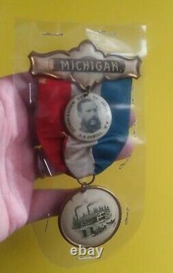 Michigan Civil War GAR Ribbon 1896/Celluloid/Sherman B. Daboll /117th New York