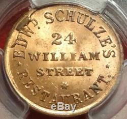 NEW YORK CITY CIVIL WAR STORE CARD SCHULZE'S NY-630BO-2a DEER PCGS MS 64 RD RED