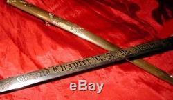 NEW YORK MASONIC TEMPLE Antique Civil War ROYAL ARCH HIRAM SWORD 1860s RARE FIND