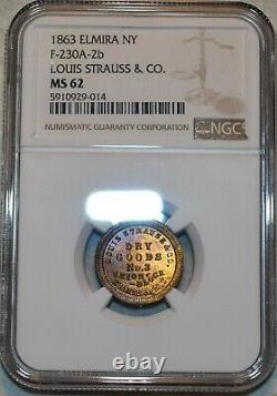NGC MS-62 1863 Louis Strauss & CO Brass Civil War Token, Elmira NY-230A-2b, R-7