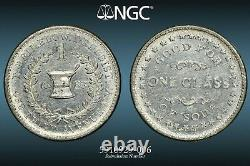 NGC MS-63 Brimelowith1 Glass of Soda White Metal Civil War Token, NY-630K-3e, R-9