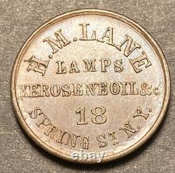 New York Civil War HM Lane Storecard Token George Washington 630AP-5A AU-BU