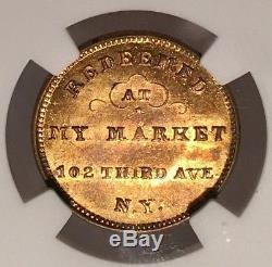 New York Civil War Token Ph. J. Seiter's Market NY630BQ-1b NGC MS-63 Bull