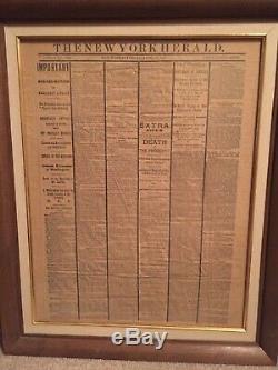 New York Herald April 15, 1865-Civil War, Lincoln Assassination Framed Newspaper