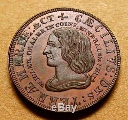 New York Pre-Civil War Token PA 217 William Idler Coin Dealer Very Nice UNC
