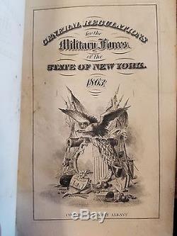 New York State Militia 1863 General Regulations Civil War Era Fine Binding