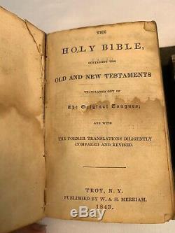Nice 1843 Antique Pre Civil War era Leather Pocket Bible Fold Over
