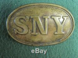 Non Dug Civil War SYN State of New York Brass Box Plate