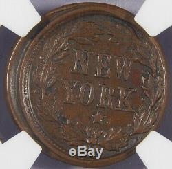 Off Center 1863 F-22/442 a New York Civil War Token NGC AU-58