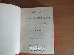 Old NEW YORK STATE LEGISLATURE MANUAL Leather Book Set 1860's CIVIL WAR POLITICS