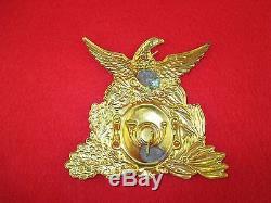 Orig Civil War Shako Insignia Uniform Front Plate Hat Pin Badge PA, NY, MASS