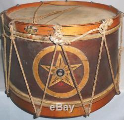 -Original- 1800's -Civil War- Antique John G Pike Painted NY Military Field Drum