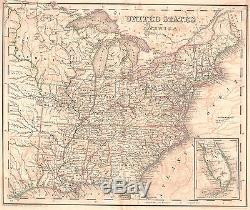 Original 1839 Antique Pre-Civil War US United States America USA Rare Tanner Map