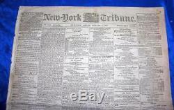 Original Antique CIVIL War Newspaper, Ny Tribune Jan 3 1862, Slavery, Battles