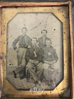 Original Civil War 1/4 Plate Tintype 4 New York Soldiers, Smoking Cigars! US