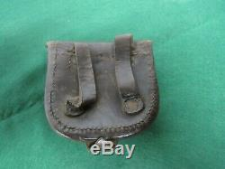 Original Civil War Leather Percussion Cap Pouch with Nipple Pick New York Maker