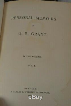 Personal Memoirs Ulysses S. Grant first edition first printing 2 vol set brown