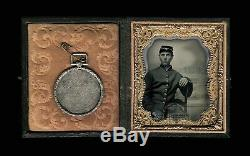 Photo Young Civil War Soldier ID'd Marksmanship Medal Poss KIA 131 NY Infantry