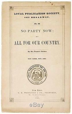 Political Pamphlet, New York, 1863 Civil War