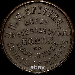 R8 Civil War Token H. W. Shiffer Agent Goodyear Patents Vulcanite Jewelry NY, NY