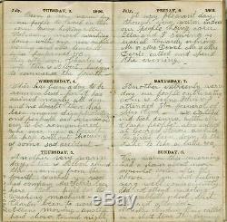 RARE 1866 WOMAN'S HANDWRITTEN POST CIVIL WAR DIARY Hamlin Brockport Monroe NY