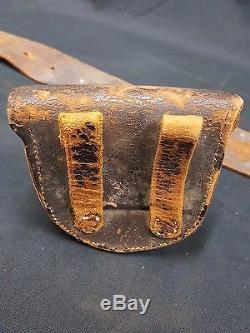 RARE Civil War Leather Belt New York State Buckle Cap Pouch Bayonet & Scabbard