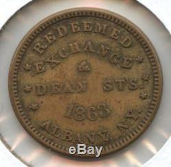 RARE Civil War Token NY Albany 1863 John Thomas Coffee & Spices XF, 2-4 Known
