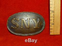 RARE EXC+ DUG CIVIL WAR State of New York SNY Belt Buckle PUPPY PAW HOOKS LEADED