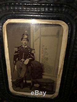 Rare CIVIL War Armed Union Soldier 6th New York Artillery Regiment Shako Tintype