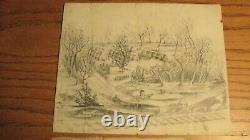 Rare CIVIL War Soldiers Drawing Camp Dickinson Co B 109th Ny Volunteers
