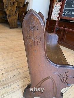 SUPER Antique 1860 Civil War Era Gothic Chestnut Walnut Church Pew 48 New York