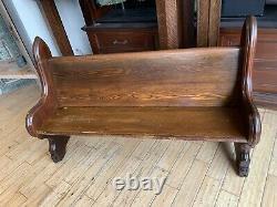 SUPER Antique 1860 Civil War Era Gothic Chestnut Walnut Church Pew 60 New York