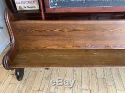 SUPER Antique 1860 Civil War Era Gothic Chestnut Walnut Church Pew 86 New York