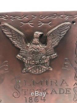 Solid Brass Civil War Elmira NY Stockade Prison Plaque Sign Antique Replica 4 Ib