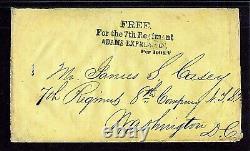 Stampless CIVIL War Adams Express Free For 7th Reg Per Hoey 1861, Rare Pf Cert