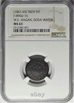 Troy New York Hagan Soda Water Civil War Store Card Token NY 890D-1h NGC MS63