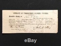 Troy Ny CIVIL War Soldier's Voting Documents And Detail Envelope 1864 Election