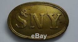 Us CIVIL War Union Sny State New York Oval Belt Buckle Authentic Dug