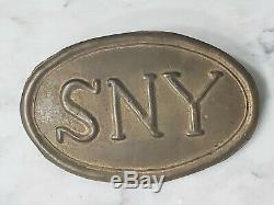 Vintage Civil War SNY State New York Cartridge Box Plate Brass Lead Buckle
