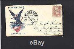 Washington, District Of Columbia, CIVIL War Patriotic Cover, 9th Regm N. Y. S. M